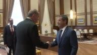Turkish President Recep Tayyip Erdogan meets Foreign Minister of Turkish Cypriot Tahsin Ertugruloglu at Presidential Complex in Ankara Turkey on June...