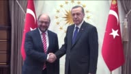Turkish President Recep Tayyip Erdogan meets President of the European Parliament Martin Schulz at the presidential palace in Ankara Turkey on April...