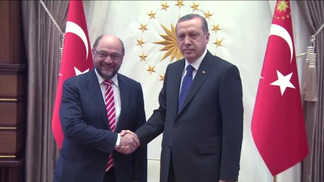 Turkish President Recep Tayyip Erdogan meets President of the European Parliament Martin Schulz at the presidential palace in Ankara Turkey on April...