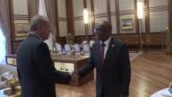 Turkish President Recep Tayyip Erdogan meets with Burundi's Foreign Minister Alain Aime Nyamitwe at the Presidential Complex in Ankara Turkey on June...