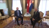 Turkish President Recep Tayyip Erdogan meets with Croatian Parliament Speaker at the Dverce Palace in Zagreb Croatia on April 27 2016