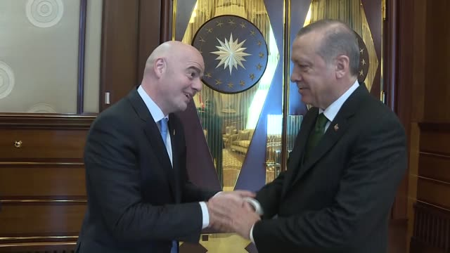 Turkish President Recep Tayyip Erdogan meets with FIFA President Gianni Infantino at Presidential Complex in Ankara Turkey on November 24 2017
