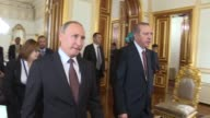 Turkish President Recep Tayyip Erdogan meets with his Russian counterpart Vladimir Putin at the historical Mabeyn Palace in Istanbul Turkey on...