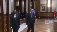 Turkish President Recep Tayyip Erdogan meets with President of Benin Patrice Talon at Presidential Complex in Ankara Turkey on December 6 2016...
