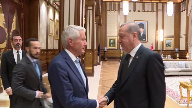 Turkish President Recep Tayyip Erdogan meets with Secretary General of the Council of Europe Thorbjorn Jangland at Presidental Palace in Ankara...