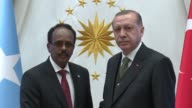 Turkish President Recep Tayyip Erdogan meets with Somalian President Mohamed Abdullahi Farmajo at Presidential Complex in Ankara Turkey on April 26...