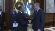 Turkish President Recep Tayyip Erdogan meets with Speaker of Iraq's Council of Representatives Salim alJabouri at the Presidential Complex in Ankara...