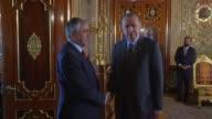 Turkish President Recep Tayyip Erdogan meets with Turkish Cypriot leader Mustafa Akinci at the Beylerbeyi Palace in Istanbul Turkey on June 24 2017