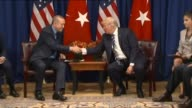 Turkish President Recep Tayyip Erdogan meets with US President Donald Trump at the Lotte New York Palace Hotel on the sidelines of the United Nations...