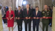 Turkish President Recep Tayyip Erdogan Prime Minister Ahmet Davutoglu and Chief of Turkey's General Staff Hulusi Akar attend a ceremony in which...