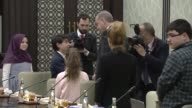 Turkish President Recep Tayyip Erdogan receives a group of children accompanied by Education Minister Ismet Yilmaz at presidential complex on...