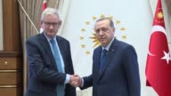 Turkish President Recep Tayyip Erdogan receives former Swedish Prime Minister and CoChair of the European Council on Foreign Relations Carl Bildt at...