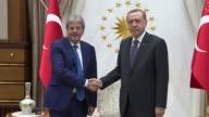 Turkish President Recep Tayyip Erdogan receives Italian Foreign Minister Paolo Gentiloni at Presidential Complex in Ankara Turkey on October 06 2016