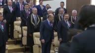 Turkish President Recep Tayyip Erdogan Speaker of the Grand National Assembly of Turkey Ismail Kahraman Turkish Prime Minister Binali Yildirim head...