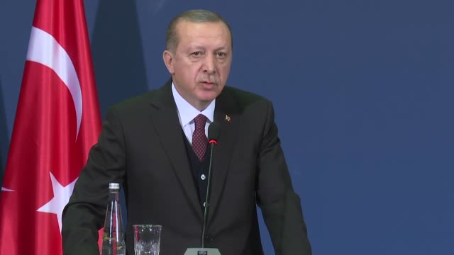 Turkish President Recep Tayyip Erdogan speaks at a joint press conference with Serbian President Aleksandar Vucic following their meeting at the...
