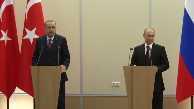 Turkish President Recep Tayyip Erdogan speaks at a joint press conference with his Russian counterpart Vladimir Putin following their meeting at the...
