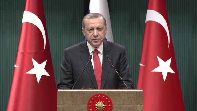 Turkish President Recep Tayyip Erdogan speaks during a joint press conference with his Russian counterpart Vladimir Putin following their meeting at...