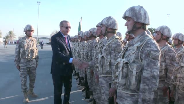 Turkish President Recep Tayyip Erdogan visits Turkish military base in Doha Qatar on November 15 2017 During President Recep Tayyip Erdogan's visit...