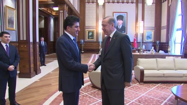 Turkish President Recep Tayyip Erdogan welcomes Prime Minister of Iraqi Kurdish Regional Government Nechervan Barzani at the presidential palace in...