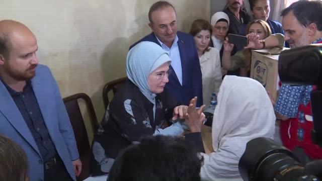 COX'S BAZAR BANGLADESH SEPTEMBER 7 Turkish President Recep Tayyip Erdogan's wife Emine Erdogan accompanied by Turkish Foreign Minister Mevlut...
