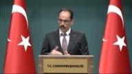 Turkish Presidential spokesman Ibrahim Kalin holds a press conference at Presidental Complex in Ankara Turkey on February 22 2017 Kalin explained...