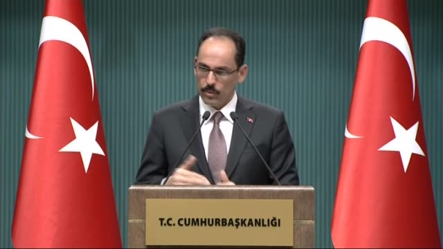 Turkish Presidential spokesman Ibrahim Kalin holds a press conference at Presidental Complex in Ankara Turkey on February 22 2017 Kalin explained...