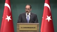 Turkish Presidential spokesman Ibrahim Kalin holds a press conference at Presidential Complex in Ankara Turkey on April 24 2017 Branding remarks by a...