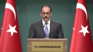 Turkish Presidential spokesman Ibrahim Kalin holds a press conference at Presidential Complex in Ankara Turkey on April 24 2017 Europe's reactions in...