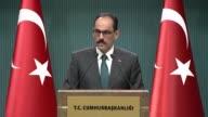 Turkish Presidential spokesman Ibrahim Kalin holds a press conference at Presidential Complex in Ankara Turkey on June 14 2017 Turkey has urged Gulf...