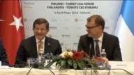 Turkish Prime Minister Ahmet Davutoglu and his Finnish counterpart Juha Sipila attend the FinlandTurkey CEO Forum on April 06 2016 in Helsinki Finland