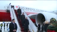 Turkish Prime Minister Ahmet Davutoglu and his wife Sare Davutoglu arrive at Boryspil International Airport for an official visit to Kiev Ukraine on...