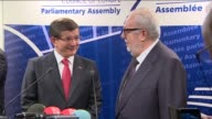 Turkish Prime Minister Ahmet Davutoglu and President of the Parliamentary Assembly of the Council of Europe Pedro Agramunt hold a joint press...