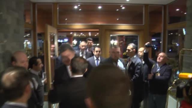 Turkish Prime Minister Ahmet Davutoglu and Ukrainian President Petro Poroshenko meet during the World Economic Forum 2015 in Davos Switzerland on...