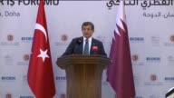 Turkish Prime Minister Ahmet Davutoglu delivers a speech at the at TurkeyQatar Business Forum in Doha Qatar on April 28 2016