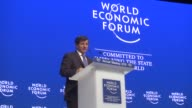 Turkish Prime Minister Ahmet Davutoglu delivers a speech during a session of the 45th annual meeting of World Economic Forum in Davos Switzerland on...