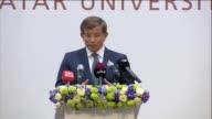 "Turkish Prime Minister Ahmet Davutoglu delivers a speech on ""TurkeyQatar Cooperation Regional Challenges Broader Horizons"" at Qatar University in..."