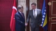 Turkish Prime Minister Ahmet Davutoglu Deputy Prime Ministers Lutfi Elvan Tugrul Turkes and Yalcin Akdogan are seen during a meeting with the...