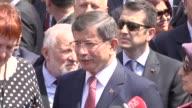Turkish Prime Minister Ahmet Davutoglu his wife Sare Davutoglu and Chairman of the Council of Ministers of Bosnia and Herzegovina Denis Zvizdic...