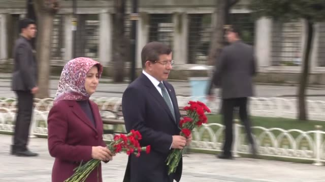Turkish Prime Minister Ahmet Davutoglu his wife Sare Davutoglu Turkish Interior Minister Efkan Ala Turkish Health Minister Mehmet Muezzinoglu and...