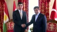 Turkish Prime Minister Ahmet Davutoglu holds a meeting with Iraqi Kurdistan Regional Government Prime Minister Nechirvan Barzani at the Prime...
