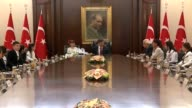 Turkish Prime Minister Ahmet Davutoglu holds a meeting with symbolic cabinet members consisting of children within the celebrations for the National...