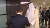 Turkish Prime Minister Ahmet Davutoglu meets Emir of Qatar Sheikh Tamim bin Hamad Al Thani during the 13th Organization of Islamic Cooperation Summit...