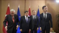 Turkish Prime Minister Ahmet Davutoglu meets with European Commission President JeanClaude Juncker European Council President Donald Tusk and Dutch...
