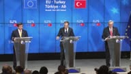 Turkish Prime Minister Ahmet Davutoglu speaks during a press conference with European Commission President JeanClaude Juncker and European Council...