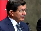 Turkish Prime Minister Ahmet Davutoglu speaks to press about the latest remarks of Israeli Prime Minister Benjamin Netanyahu in response to the...