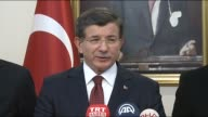Turkish Prime Minister Ahmet Davutoglu speaks to the journalists during a press conference in Erzincan Turkey on Fenruary 13 2016 'Turkish security...