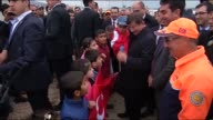 Turkish Prime Minister Ahmet Davutoglu visits the Yazidi refugee camp set up by Republic of Turkey Prime Ministry Disaster and Emergency Management...