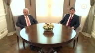 Turkish Prime Minister and chairman of Turkey's ruling Justice and Development Party Binali Yildirim meets with outgoing Prime Minister Ahmet...