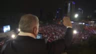 Turkish Prime Minister and the Leader of Turkey's Justice and Development Party Binali Yildirim delivers a victory speech from the balcony of his...