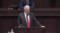 Turkish Prime Minister and the leader of Turkey's ruling Justice and Development Party Binali Yildirim gives a speech during the AK Party's group...